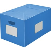 Plastic Storage Box, Collapsible, Blue, 16 Gallon, 2/Pack