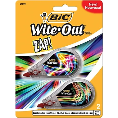 BIC® Wite-Out® Brand Zap® Correction Tape, 2/Pack