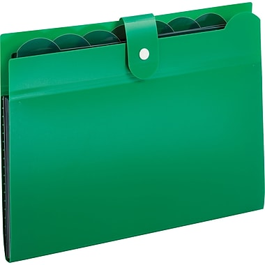 Globe-Weis® 7 Pocket Poly File, Open Top, Letter Size, Green