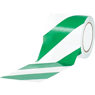 Tape Logic™ 4in. x 36 yds. Striped Vinyl Safety Tape, Green/White, 3/Pack