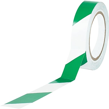 Tape Logic™ 1in. x 36 yds. Striped Vinyl Safety Tape, Green/White, 3/Pack