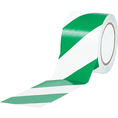 Tape Logic™ 3in. x 36 yds. Striped Vinyl Safety Tape, Green/White, 3/Pack