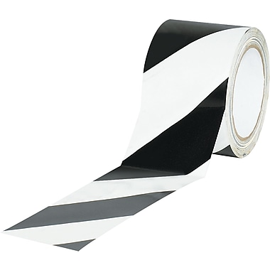 Tape Logic™ 3in. x 36 yds. Striped Vinyl Safety Tape, Black/White, 3/Pack