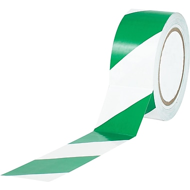 Tape Logic™ 2in. x 36 yds. Striped Vinyl Safety Tape, Green/White, 3/Pack