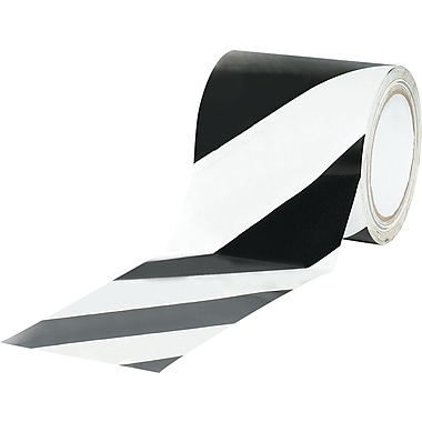 Tape Logic™ 4in. x 36 yds. Striped Vinyl Safety Tape, Black/White