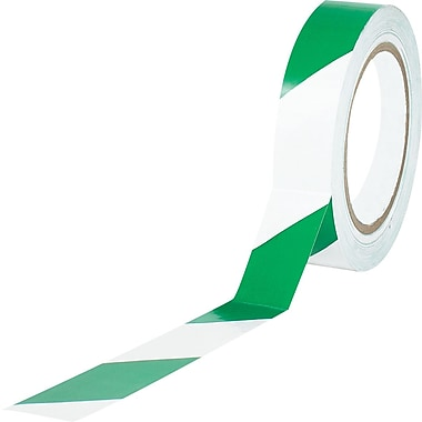 Tape Logic™ 1in. x 36 yds. Striped Vinyl Safety Tape, Green/White