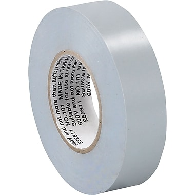 Tape Logic™ 3/4in.(W) x 20 yds(L) Vinyl Electrical Tape, Gray, 10/Case