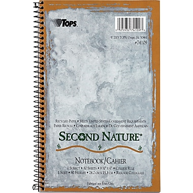 TOPS® Second Nature® Notebooks, 9-1/2