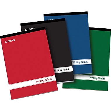 TOPS® Glue Top Ruled Notepads, Assorted Colors Writing Tablet, 6