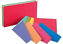 Oxford® Extreme 3' x 5' Ruled Multicolored Index Cards, 100/Pack