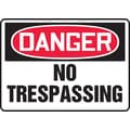 Accuform Signs® 7in. x 10in. Aluminum Safety Sign in.DANGER NO TRESPASSINGin., Red/Black On White