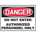 Accuform Signs® 10in. x 14in. Vinyl Safety Sign in.DANGER DO NOT ENTER AUTHORIZE..in., Red/Black On White