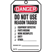 "Accuform Signs® 5.75"" x 3.25"" RP-Plastic Safety Tag ""DANGER..REASON TAGGED"", Red/Black On White"