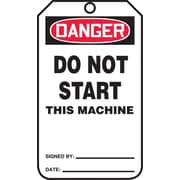 """Accuform Signs® 5.75"""" x 3.25"""" RP-Plastic Safety Tag """"DANGER..THIS MACHINE"""", Red/Black On White"""