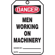 Accuform Signs® 5 3/4 x 3 1/4 PF-Cardstock Safety Tag DANGER MEN WORKING.., Red/Black On White