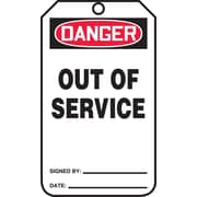 "Accuform Signs® 5 3/4"" x 3 1/4"" RP-Plastic Safety Sign ""DANGER OUT OF SERVICE"", Red/Black On White"