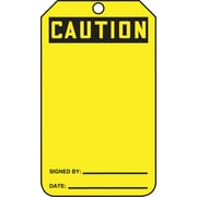 "Accuform Signs® 5 3/4"" x 3 1/4"" Plastic Blank Front Safety Tags """"CAUTION.."", Black On Yellow"