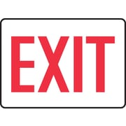 "Accuform Signs® 7"" x 10"" Adhesive Vinyl Safety Sign ""EXIT"", Red On White"