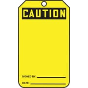 Accuform Signs® 5 3/4 x 3 1/4 Plastic Blank Front & Back Tags CAU.., Black On Yellow
