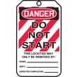 Accuform Signs® 5 3/4in. x 3 1/4in. PF-Cardstock Lockout Tag in.DANGER DO NOT STARTin., Red/Black On White