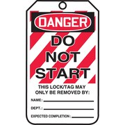 "Accuform Signs® 5 3/4"" x 3 1/4"" RP-Plastic Lockout Tag ""DANGER DO NOT START"", Red/Black On White"