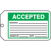 Accuform Signs® 5 3/4 x 3 1/4 PF-Cardstock Production Tags ACCE.., Green/Black On White