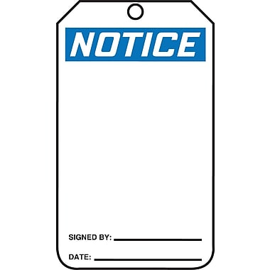 Accuform Signs® 5 3/4in. x 3 1/4in. PF-Cardstock Blank Safety Tags in.Noticein., Black/Blue On White