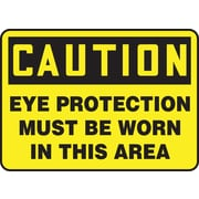 "Accuform Signs® 10"" x 14"" Vinyl Safety Sign ""CAUTION EYE PROTECTION MUST BE W.."", Black On Yellow"