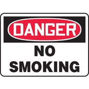 "Accuform Signs® 10"" x 14"" Adhesive Vinyl Safety Sign ""DANGER NO SMOKING"", Red/Black On White"