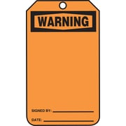 "Accuform Signs® 5 3/4"" x 3 1/4"" Cardstock Blank Front & Back Tags ""WARNING"", Black On Orange"