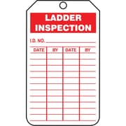 "Accuform Signs® 5 3/4"" x 3 1/4"" PF-Cardstock Inspection & Status Tag ""LADD.."", Red On White"