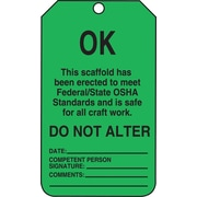 "Accuform Signs® 5 3/4"" x 3 1/4"" PF-Cardstock Scaffold Status Tags ""OK THIS.."", Black On Green"
