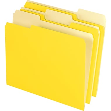 Staples® Colored Top-Tab File Folders, 1/3 Cut, Yellow, Letter-Size, 24/PK
