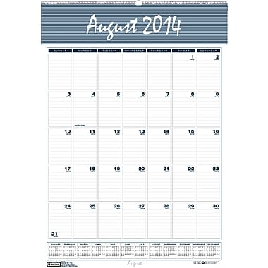 House of Doolittle® Bar Harbor Academic Monthly Wall Calendar; 15-1/2x22in., 2014-2015, Recycled