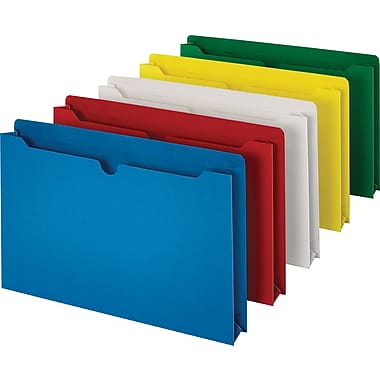 Staples  File Jacket, Flat, Legal, Assorted, 10/Pack