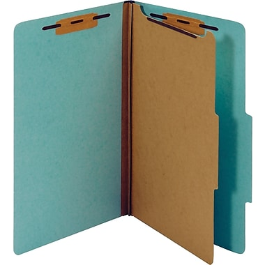 Staples® Classification Folder, 1 Divider, Legal, Light Blue, 5/Pack