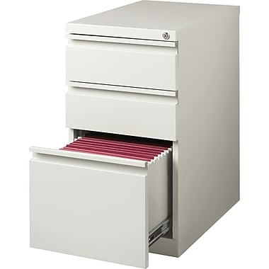 Staples 3-Drawer Mobile Pedestal File Cabinet, Light Grey (20-Inch)