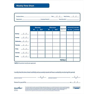 ComplyRight Weekly Timesheet Forms
