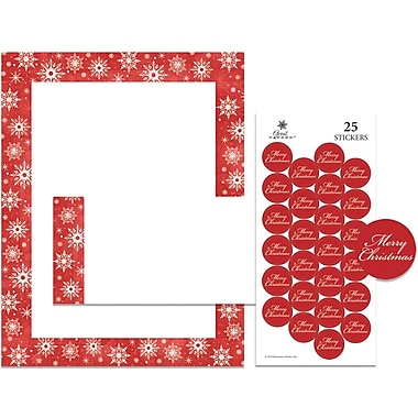 Great Papers® Holiday Stationery Kit Snowy Flakes, 25/Count