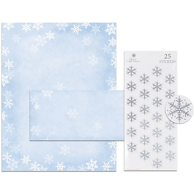 Holiday Stationery Kit, Winter Flakes, 25 Sets