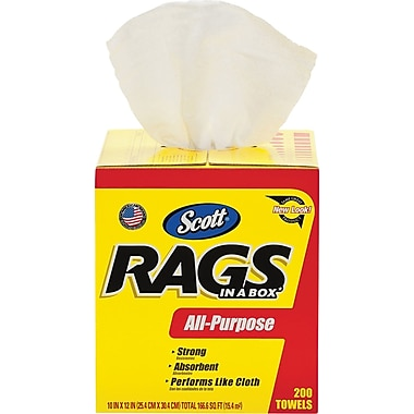 Scott ® Rags in a Box, White, 200/Box