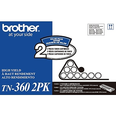 Brother TN-360 Black Toner Cartridge, High-Yield, Dual Pack