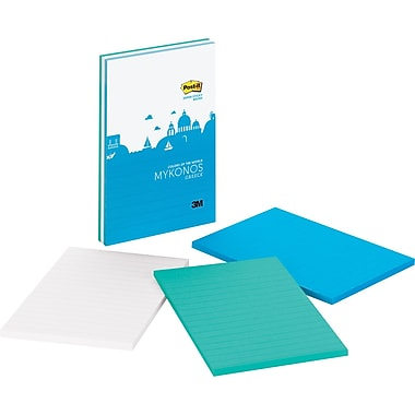Post-it® Super Sticky 4in.x 6in. Mykonos Color Notes, 3 Pads/Pack