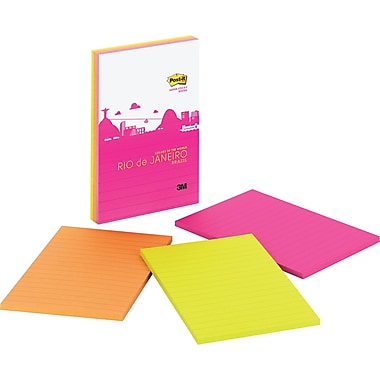 Post-it® Super Sticky 4in. x 6in. Rio Color Notes, 3 Pads/Pack