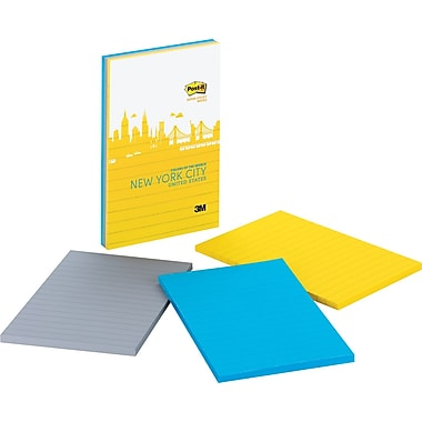 Post-it® Super Sticky 4in. x 6in. New York Color Notes, 3 Pads/Pack