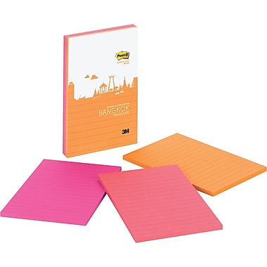 Post-it® Super Sticky 4in. x 6in. Bangkok Color Notes, 3 Pads/Pack