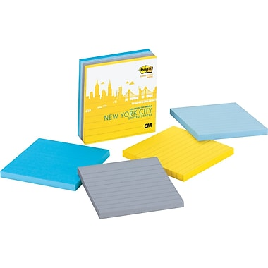 Post-it® Super Sticky 4in. x 4in.  New York Color Notes, 4 Pads/Pack