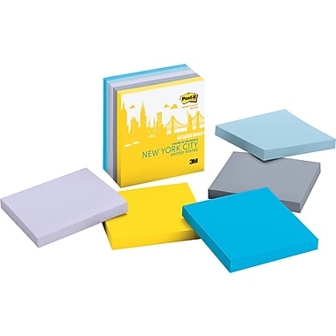 Post-it® Super Sticky 3in. x 3in.  New York Color Notes, 5 Pads/Pack