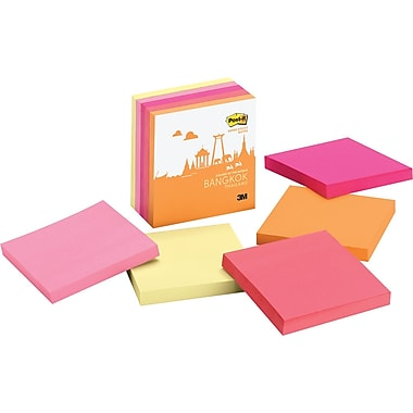 Post-it® Super Sticky 3in. x 3in. Bangkok Color Notes, 5 Pads/Pack