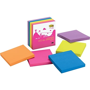 Post-it® Super Sticky 3in. x 3in. Rio Color Notes, 5 Pads/Pack